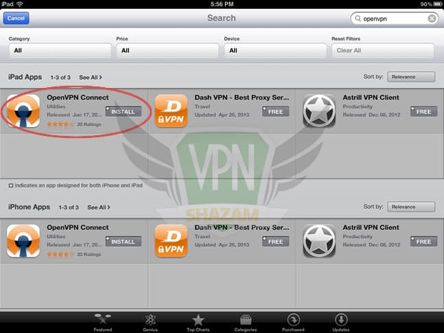 OpenVPN on the iPad/iPhone step2