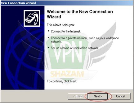 WindowsXP VPN Setup step3