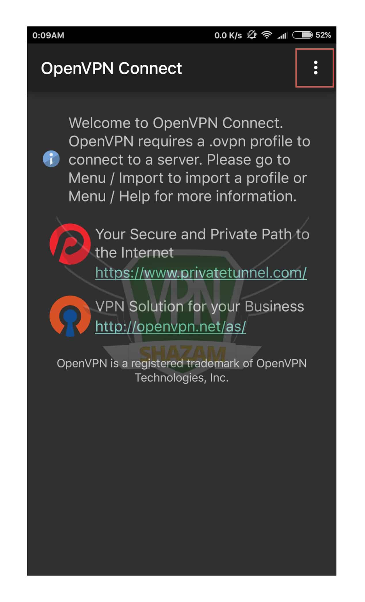 OpenVPN on the Android step3