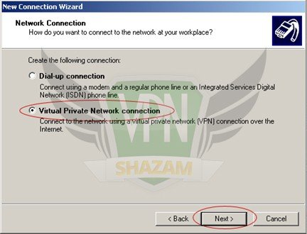 WindowsXP VPN Setup step5