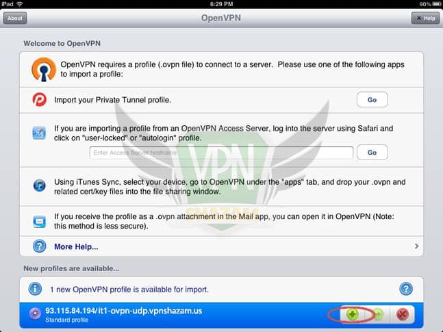 OpenVPN on the iPad/iPhone step5