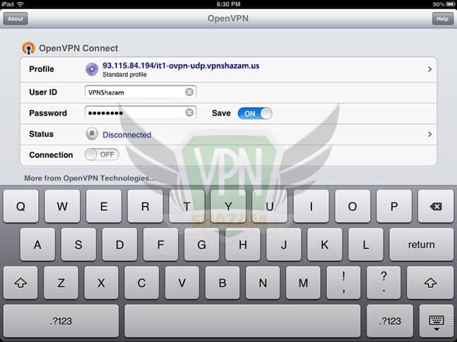 OpenVPN on the iPad/iPhone step6